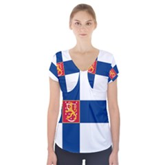 State Flag Of Finland  Short Sleeve Front Detail Top