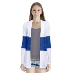State Flag Of Finland  Drape Collar Cardigan