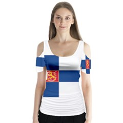 State Flag Of Finland  Butterfly Sleeve Cutout Tee