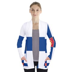 State Flag Of Finland  Women s Open Front Pockets Cardigan(p194)