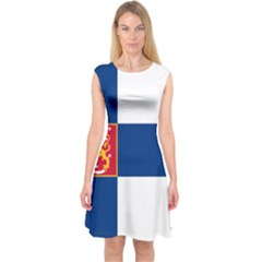State Flag Of Finland  Capsleeve Midi Dress