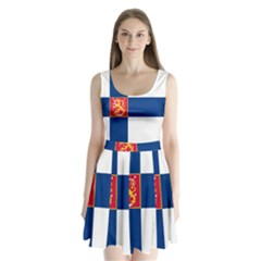 State Flag Of Finland  Split Back Mini Dress