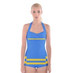 Flag of Aruba Boyleg Halter Swimsuit