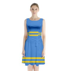 Flag of Aruba Sleeveless Waist Tie Dress