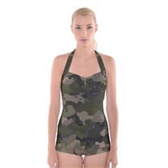 Huntress Camouflage Boyleg Halter Swimsuit