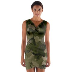 Huntress Camouflage Wrap Front Bodycon Dress