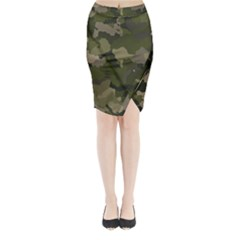 Huntress Camouflage Midi Wrap Pencil Skirt