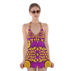 Orange Tree As Pop Art Halter Swimsuit Dress