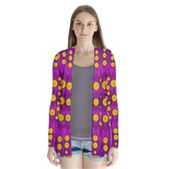Orange Tree As Pop Art Drape Collar Cardigan