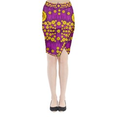 Orange Tree As Pop Art Midi Wrap Pencil Skirt