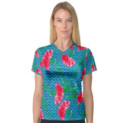 Carnations Women s V-Neck Sport Mesh Tee