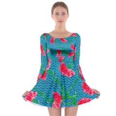 Carnations Long Sleeve Skater Dress