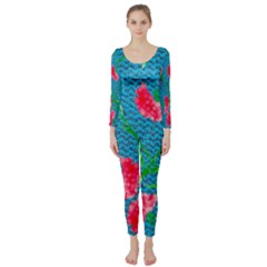 Carnations Long Sleeve Catsuit