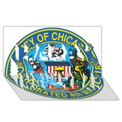 Seal of Chicago Happy New Year 3D Greeting Card (8x4)