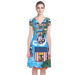 Seal of Chicago Short Sleeve Front Wrap Dress
