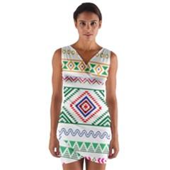 Kalimantan pattern Wrap Front Bodycon Dress