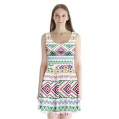 Kalimantan pattern Split Back Mini Dress