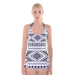 Bw Pattern Boyleg Halter Swimsuit