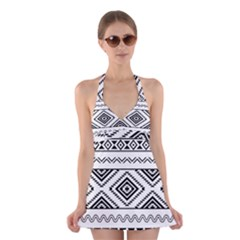 BW pattern Halter Swimsuit Dress