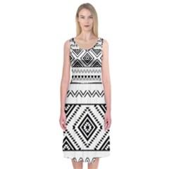 BW pattern Midi Sleeveless Dress