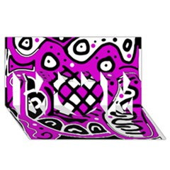 Magenta high art abstraction MOM 3D Greeting Card (8x4)