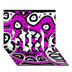 Magenta high art abstraction GIRL 3D Greeting Card (7x5)