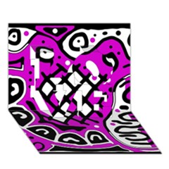 Magenta high art abstraction LOVE 3D Greeting Card (7x5)