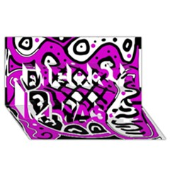 Magenta high art abstraction Merry Xmas 3D Greeting Card (8x4)