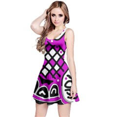 Magenta high art abstraction Reversible Sleeveless Dress