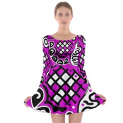 Magenta high art abstraction Long Sleeve Skater Dress
