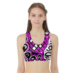 Magenta high art abstraction Sports Bra with Border