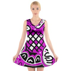 Magenta high art abstraction V-Neck Sleeveless Skater Dress