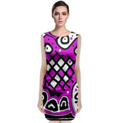 Magenta High Art Abstraction Classic Sleeveless Midi Dress