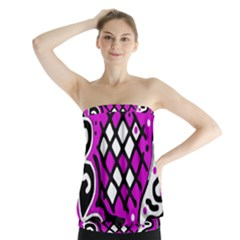 Magenta High Art Abstraction Strapless Top