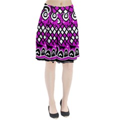 Magenta high art abstraction Pleated Skirt