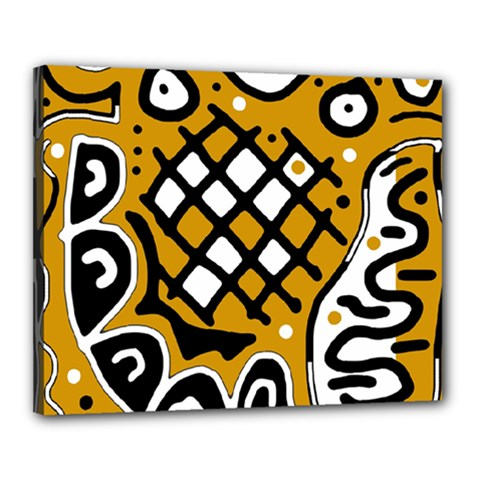 Yellow high art abstraction Canvas 20  x 16
