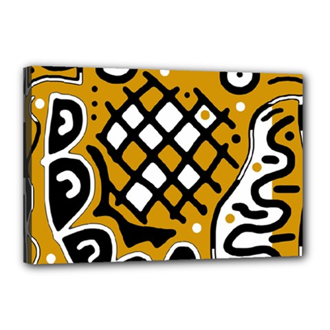 Yellow high art abstraction Canvas 18  x 12