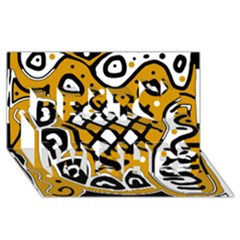 Yellow high art abstraction Best Wish 3D Greeting Card (8x4)