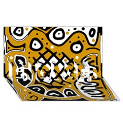 Yellow high art abstraction ENGAGED 3D Greeting Card (8x4)