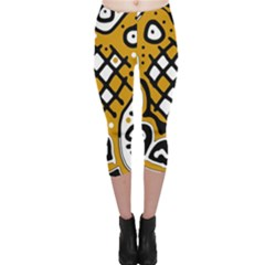 Yellow high art abstraction Capri Leggings