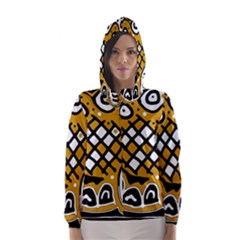 Yellow high art abstraction Hooded Wind Breaker (Women)