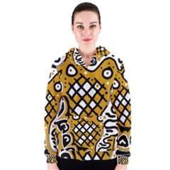 Yellow high art abstraction Women s Zipper Hoodie