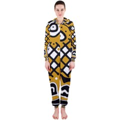 Yellow high art abstraction Hooded Jumpsuit (Ladies)