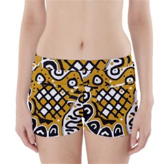 Yellow high art abstraction Boyleg Bikini Wrap Bottoms