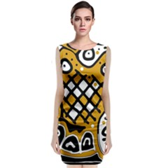 Yellow High Art Abstraction Classic Sleeveless Midi Dress