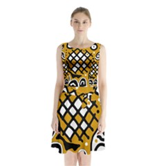 Yellow High Art Abstraction Sleeveless Waist Tie Dress