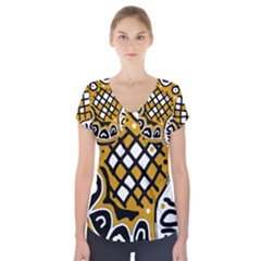 Yellow High Art Abstraction Short Sleeve Front Detail Top