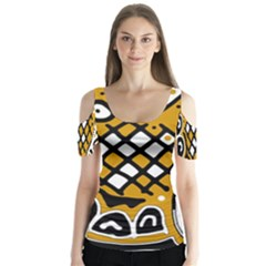 Yellow high art abstraction Butterfly Sleeve Cutout Tee