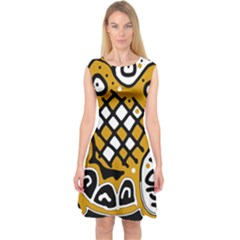 Yellow High Art Abstraction Capsleeve Midi Dress