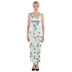 Nature Pattern Fitted Maxi Dress